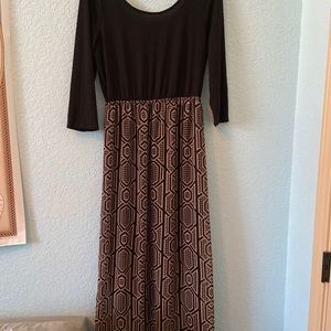 Black and brown maxi dress